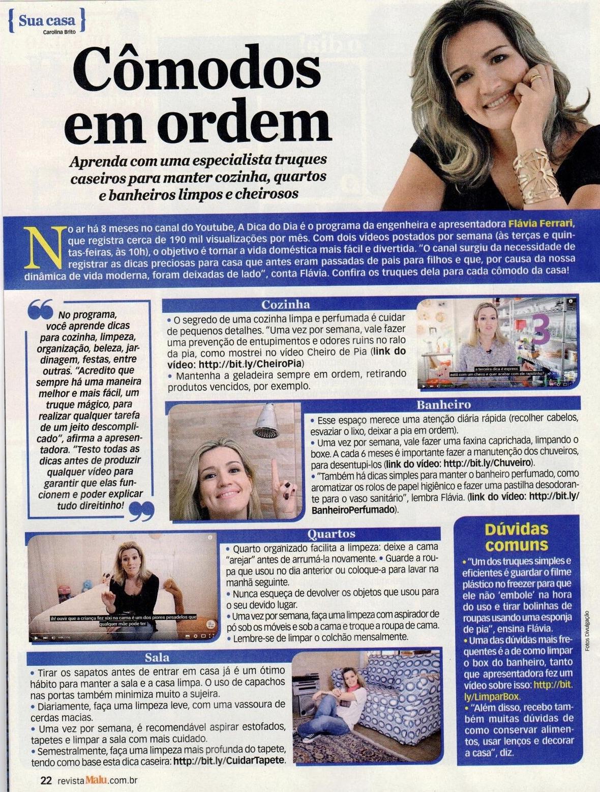 #aDicadoDia na revista Malu