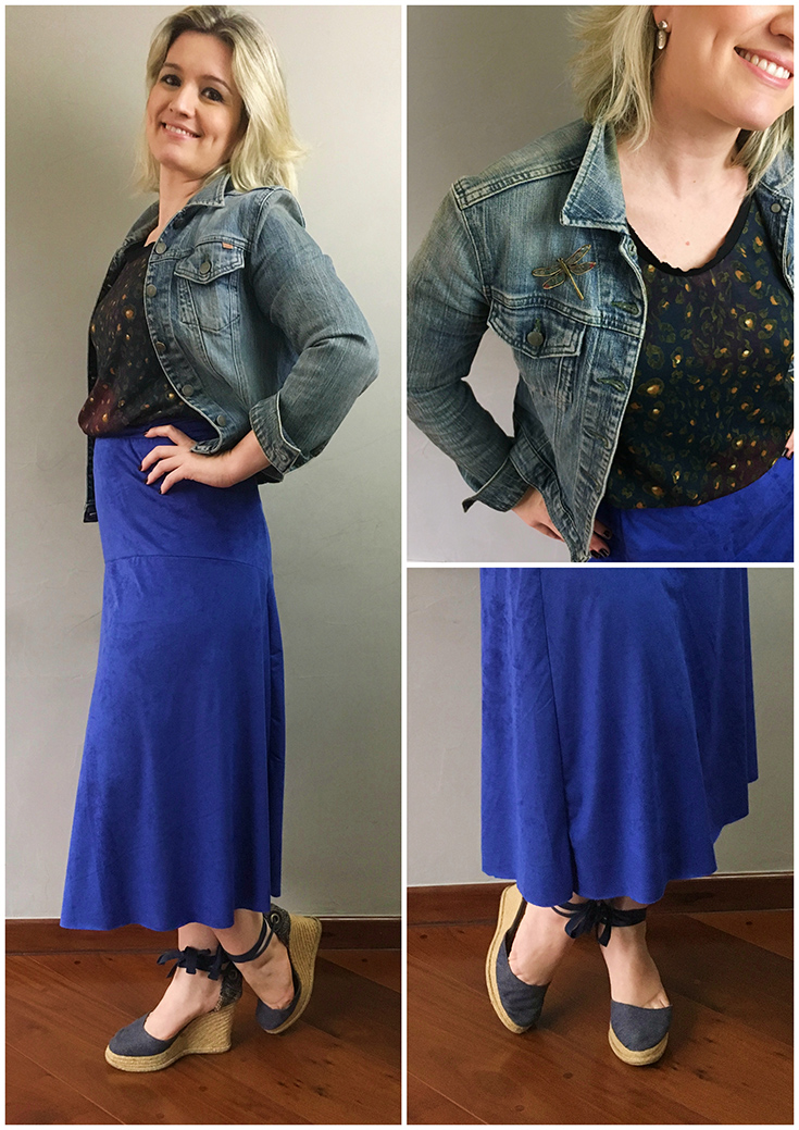 saia azul midi de camurça combinando com jaqueta jeans