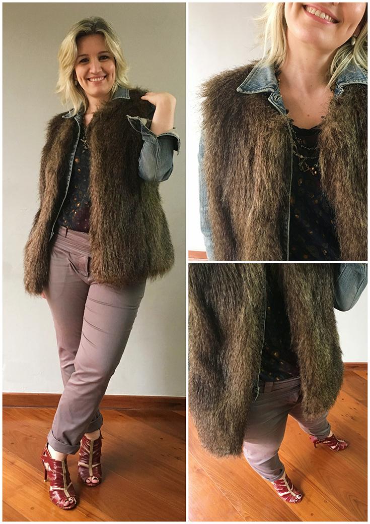 colete de pele, jaqueta jeans e blusa estampada