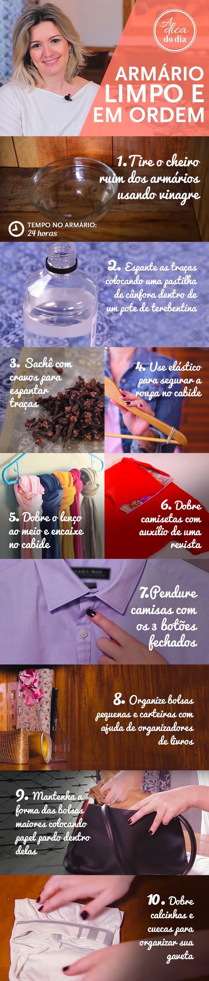 Dicas para manter seu armário limpo e em ordem