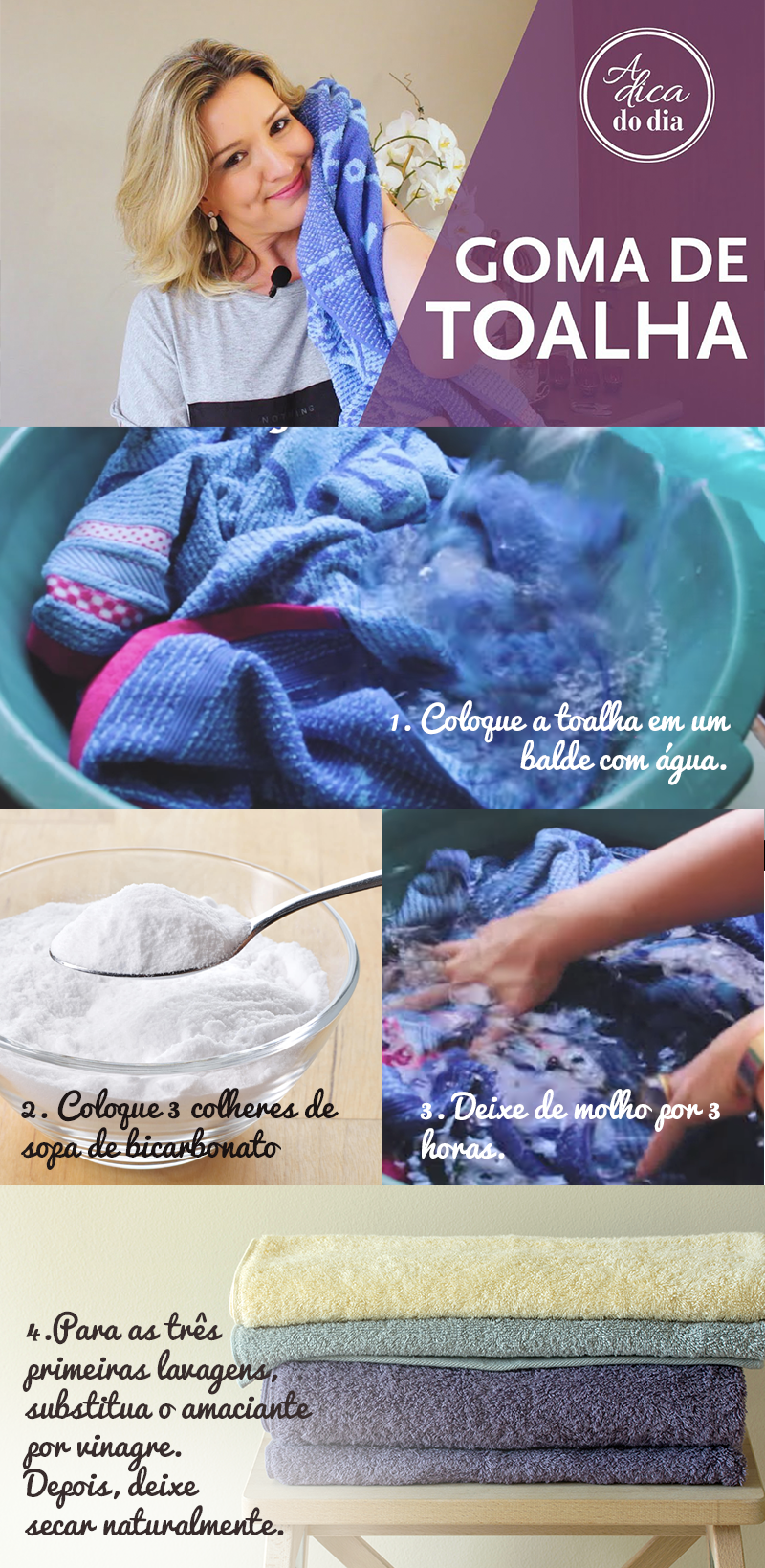 Tirar goma de toalha nova para deixá-la macia