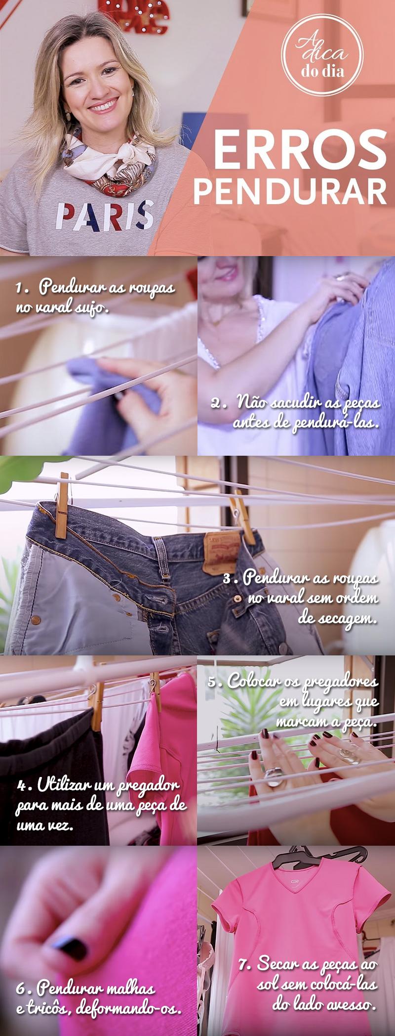 erros na hora de pendurar as roupas