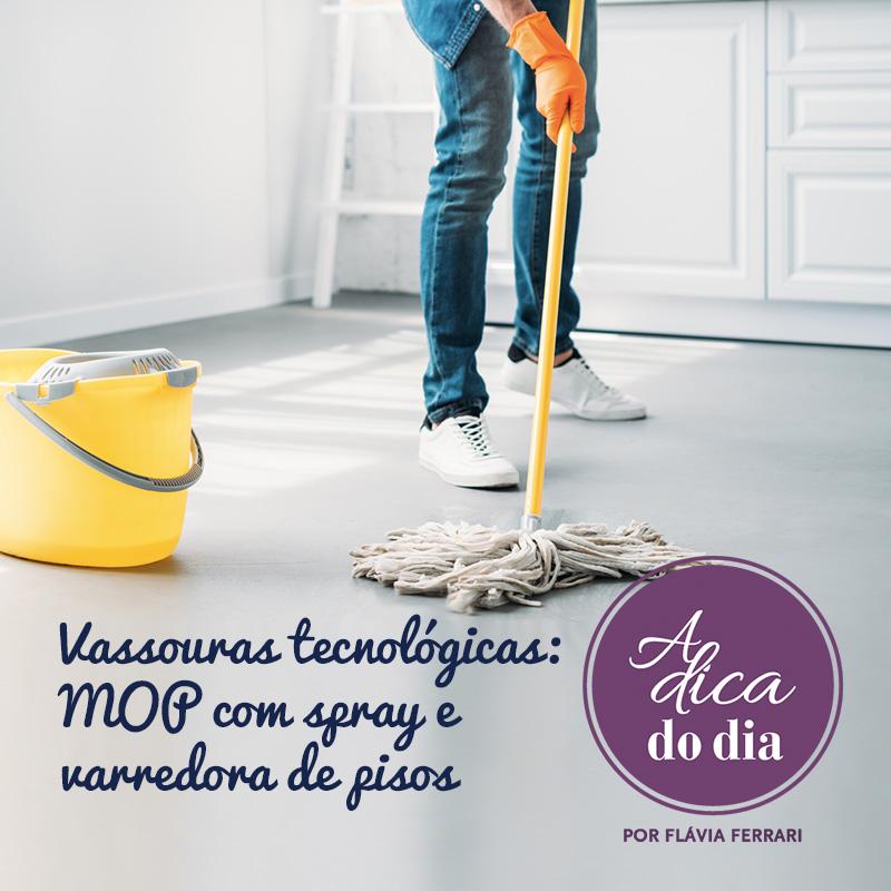 vassouras tecnológicas, mop com spray e varredora e pisos