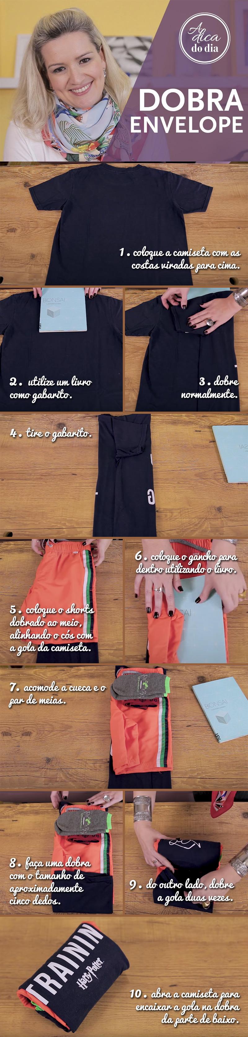 aprenda a dobrar toda a roupa em uma única dobra