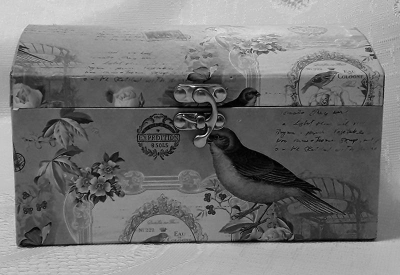 Imagem de uma caixa decorada com imagens de textos e passarinhos.