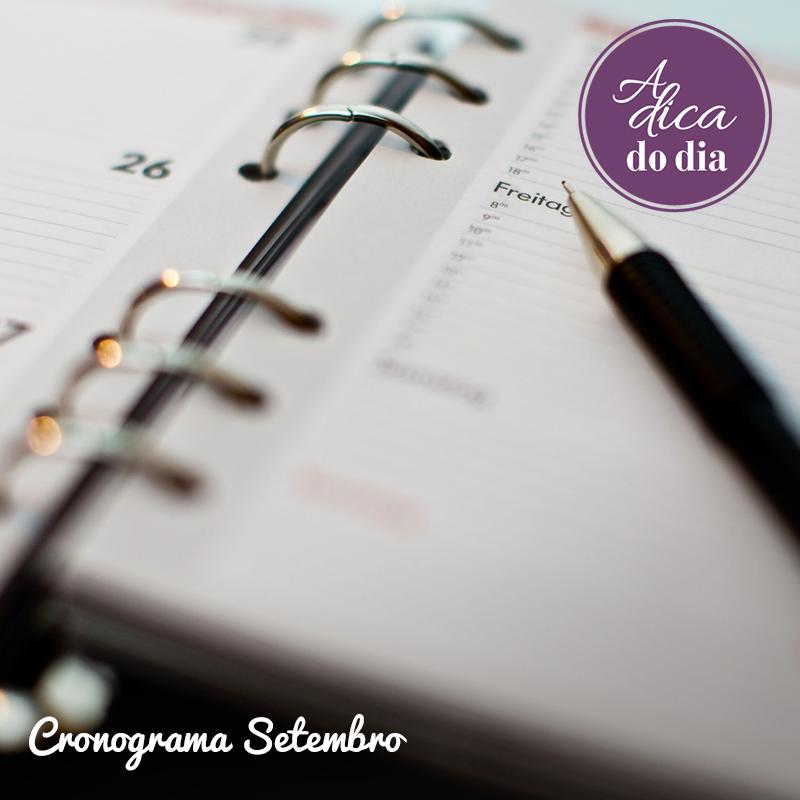 Cronograma de Setembro Sua vida organizada Flávia Ferrari