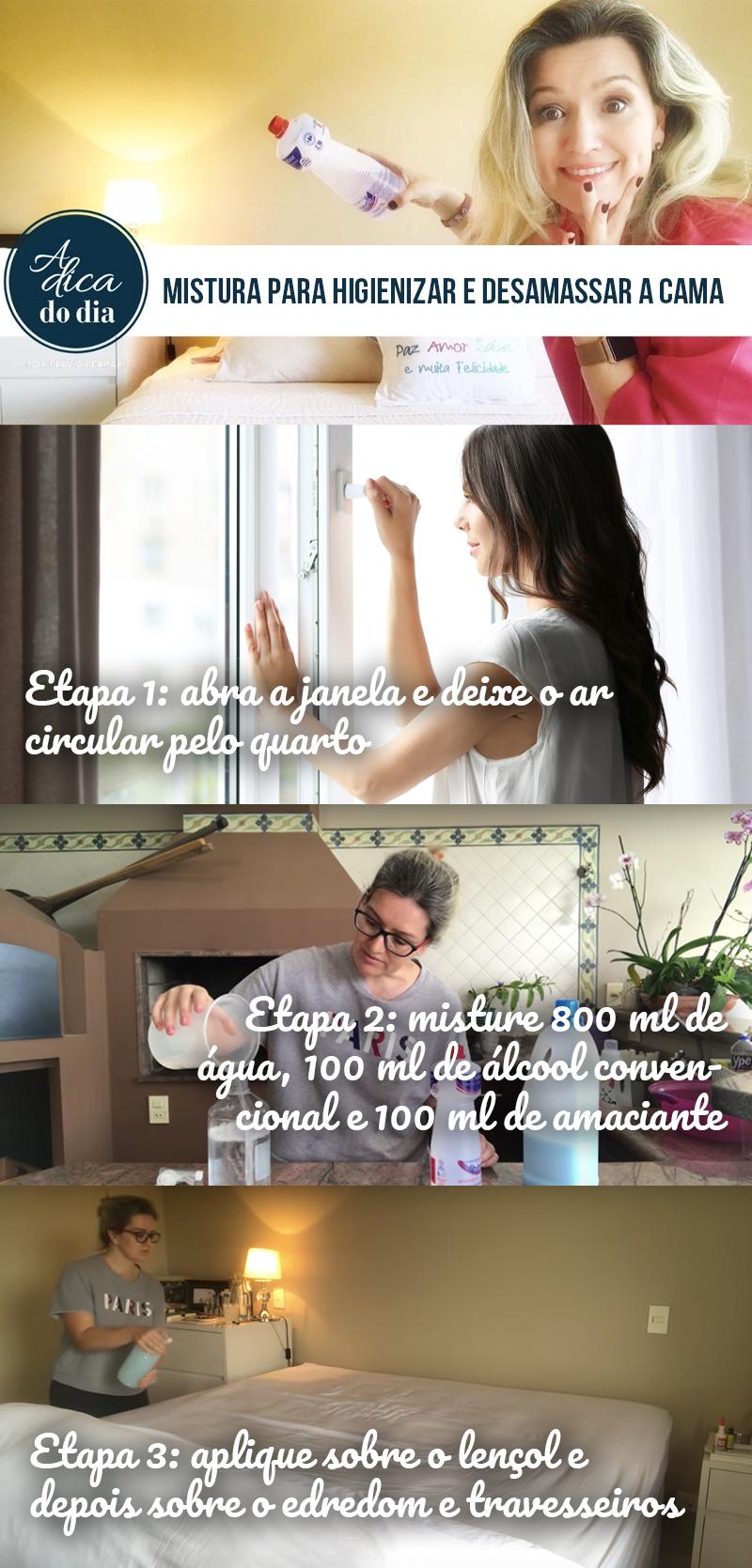 Misturinha para higienizar e desamassar a cama A Dica do Dia por Flávia Ferrari