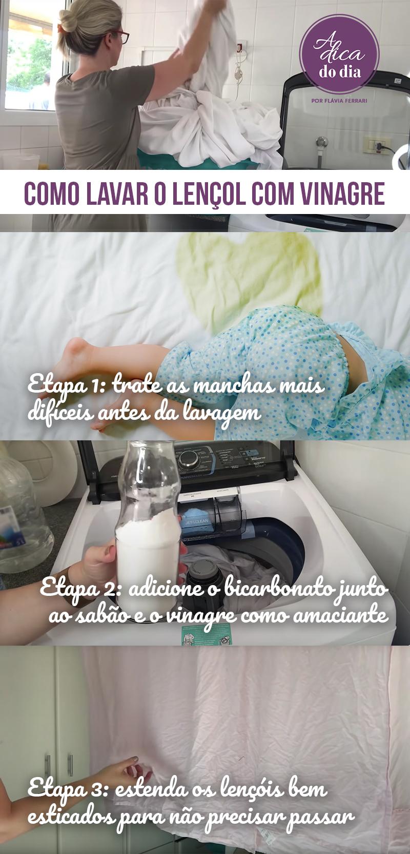 Como lavar o lençol com vinagre Flávia Ferrari A Dica do DIa